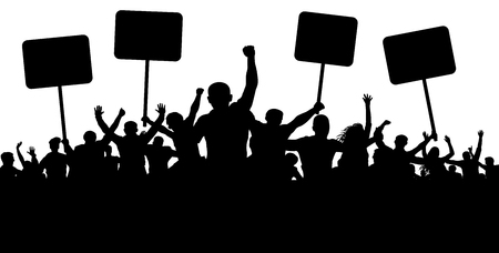 Illustrazione per Demonstration, strike, manifestation, protest, revolution. Silhouette background vector. Sports, mob, fans. Crowd of people with flags, banners - Immagini Royalty Free