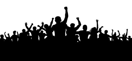 Illustrazione per Protesters, enraged crowd of people silhouette vector, angry mob - Immagini Royalty Free