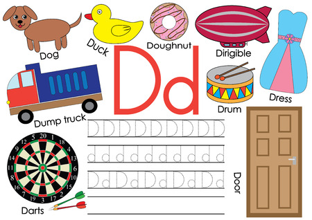 Ilustración de Letter D. Learning English alphabet and writing practice for children. - Imagen libre de derechos