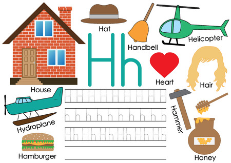 Ilustración de Letter H. Learning English alphabet with pictures. Writing practice. Vector illustration. - Imagen libre de derechos