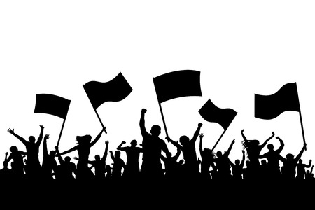 Illustrazione per An illustration of the crowd on a cheerful applause holding flags in silhouette. - Immagini Royalty Free