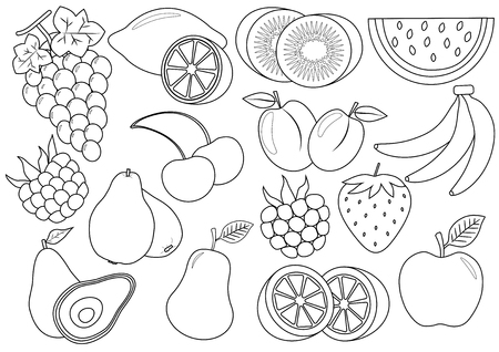 Ilustración de Coloring book. Fruits and berries cartoon. Icons. Vector illustration. - Imagen libre de derechos