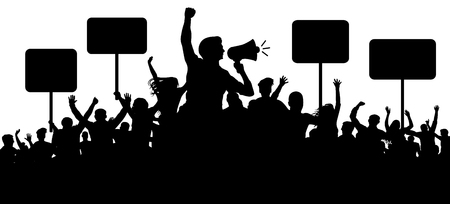 Illustrazione per Crowd of people silhouette vector. Transparent, protest slogans. Speaker, loudspeaker, orator, spokesman. Applause of a cheerful people mob. Sports fans. Demonstration banner. Meeting of people - Immagini Royalty Free