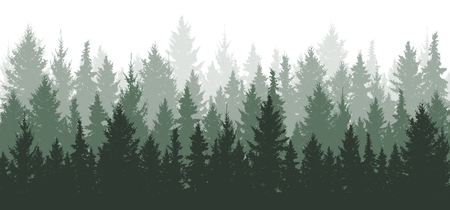 Illustration pour Forest background, nature, landscape. Evergreen coniferous trees. Pine, spruce, christmas tree. Silhouette vector - image libre de droit