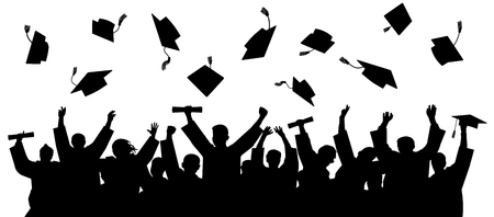Illustrazione per Graduated at university, college. Crowd of graduates in mantles, throws up the square academic caps. Cheerful people silhouette vector - Immagini Royalty Free