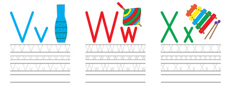 Ilustración de Writing practice of letters V,W,X. Education for children. Vector illustration - Imagen libre de derechos
