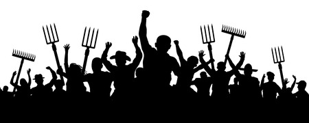 Illustrazione per Crowd of people with a pitchfork shovel rake. Angry peasants protest demonstration. Riot workers vector silhouette - Immagini Royalty Free