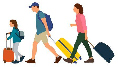 Ilustración de Young couple with a child rides on a resort. People go with suitcases. Vector illustration - Imagen libre de derechos