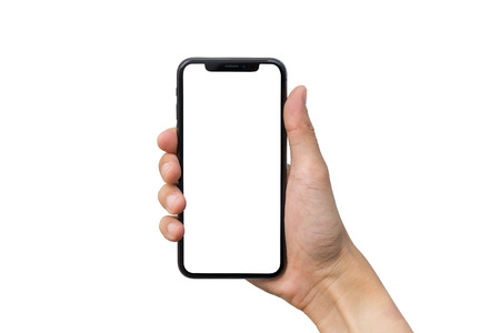 Photo pour Man's hand shows mobile smartphone with white screen in vertical position isolated on white background - image libre de droit