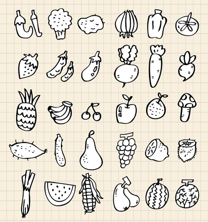 hand draw vegetables