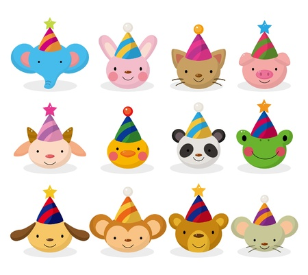 Photo for cartoon party animal head icon set - Royalty Free Image