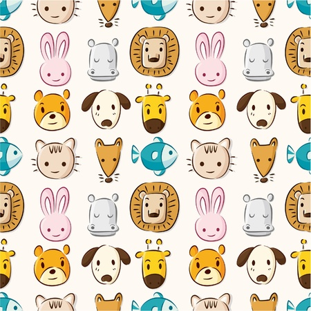 Photo pour Cartoon animal head seamless pattern - image libre de droit
