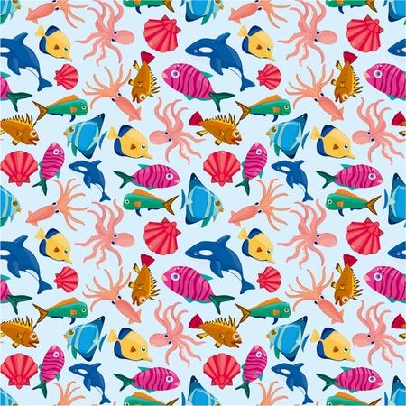 Illustration for cartoon fish seamless pattern - Royalty Free Image