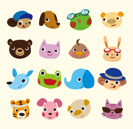Photo pour cartoon animal face set - image libre de droit