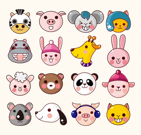 Photo for cartoon animal face icons - Royalty Free Image