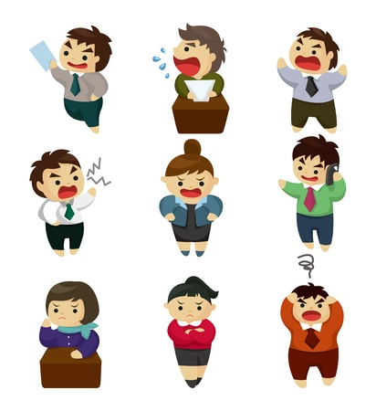Illustration for unhappy office worker set - Royalty Free Image