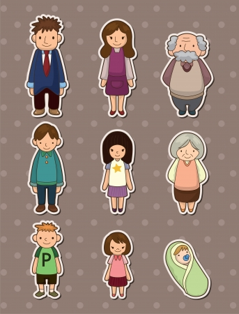 Illustration for family stickers - Royalty Free Image