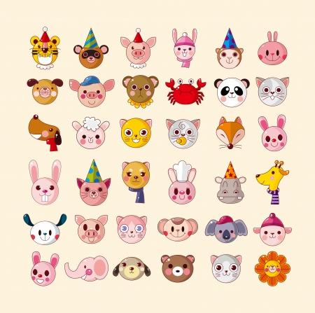 set of animal head icons