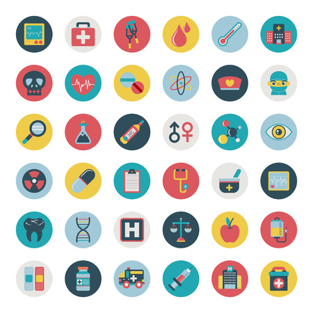 Photo for Set of flat Medical icons - Royalty Free Image