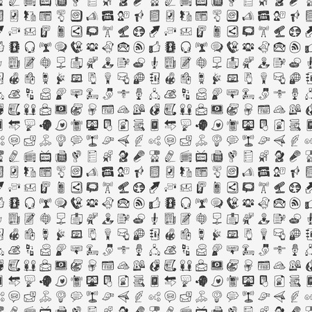 Photo for seamless doodle communication pattern - Royalty Free Image
