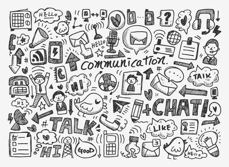 Illustration pour doodle communication background - image libre de droit