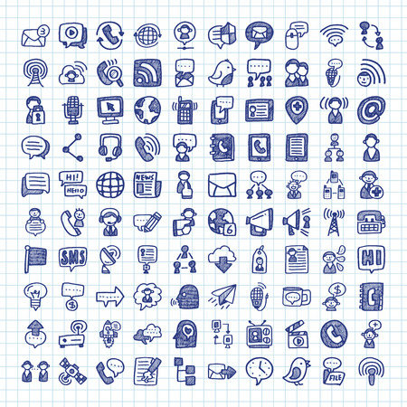 Photo pour doodle communication icons - image libre de droit