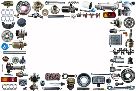 Photo pour Spare parts car on the white background set. Frame for advertising and assembled from auto parts, spare parts. - image libre de droit