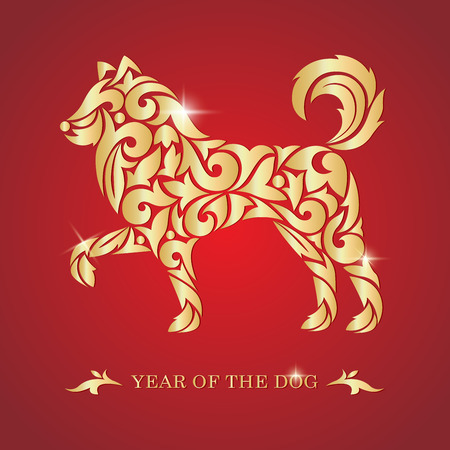 Illustration pour 2018 Chinese New Year. Year of the dog. Vector illustration. - image libre de droit
