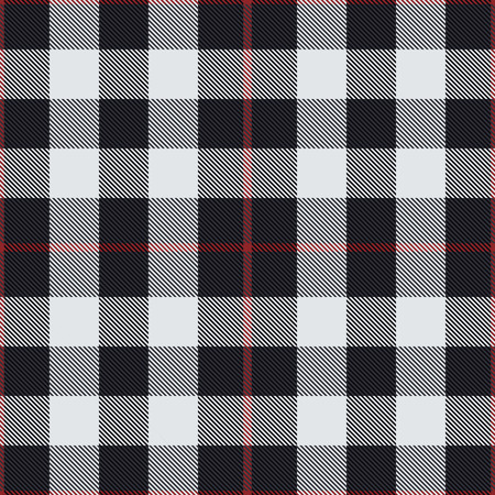 Illustration pour Black and white tartan vector seamless pattern background - image libre de droit