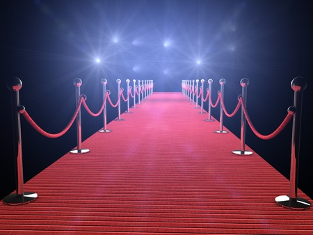 Photo pour red carpet with flash lights in the background - image libre de droit