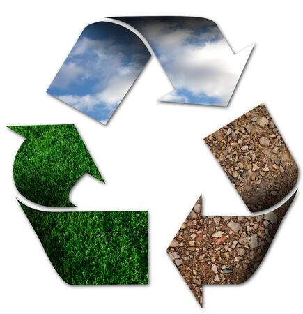 Photo for Recycling symbol with sky, grass and earth - Royalty Free Image