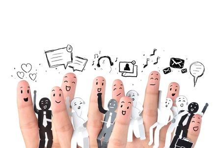 Foto de Smiling finger for symbol of business social network  - Imagen libre de derechos