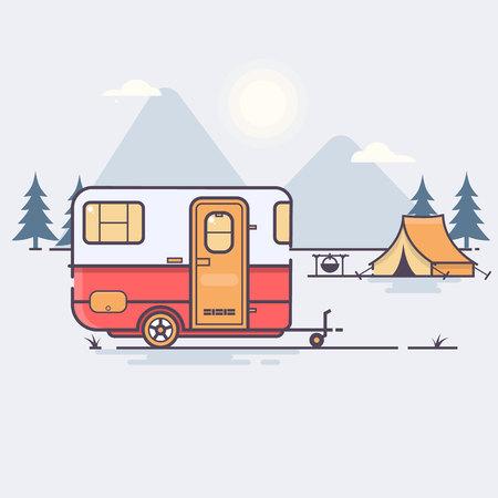 Illustration pour Retro caravan on the forest Travel concept Vector illustration - image libre de droit