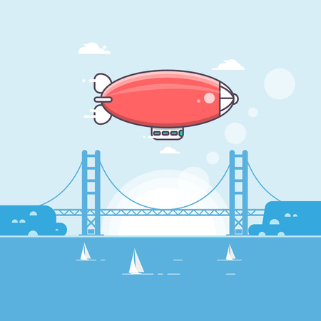 Illustration pour Travel time Airship in the sky with clouds Vector illustration - image libre de droit