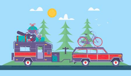 Illustration pour Road trip concept - image libre de droit