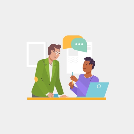 Ilustración de Group discussion, dialogues and communications, cooperation, teamwork, partnerships. Business teamwork, start-up, brainstorming.Flat vector illustration - Imagen libre de derechos