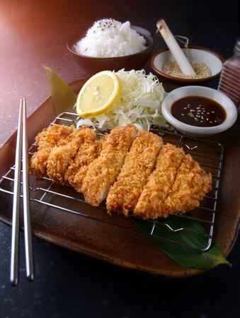 Photo for Deep fried pork in Japanese style name tonkatsu set. - Royalty Free Image