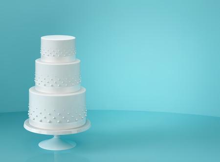 Foto de White wedding cake on blue background. 3D rendering - Imagen libre de derechos
