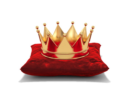 Photo pour Gold crown on red velvet pillow isolated on white. 3D rendering - image libre de droit