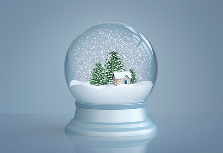 Foto de Snow globe with house and pine trees on blue background. 3D rendering - Imagen libre de derechos