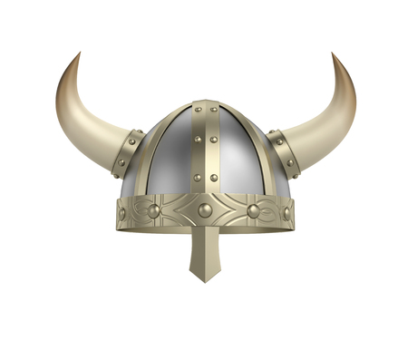 Foto de Viking helmet with horns isolated on white. 3D rendering with clipping path - Imagen libre de derechos
