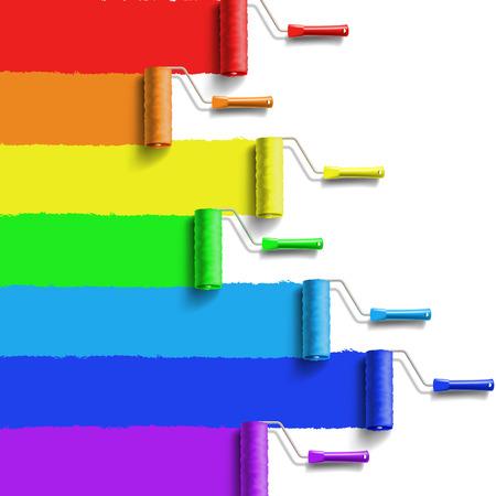 Ilustración de roller brush with rainbow colors paint - Imagen libre de derechos