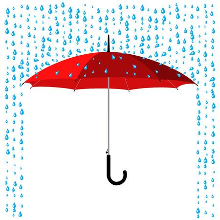 Ilustración de open classic red umbrella stick under rain - Imagen libre de derechos