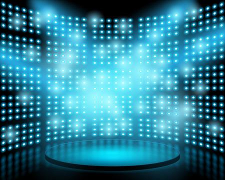 Ilustración de Performance stage with lightbulb glowing backdrop wall. abstract background - Imagen libre de derechos