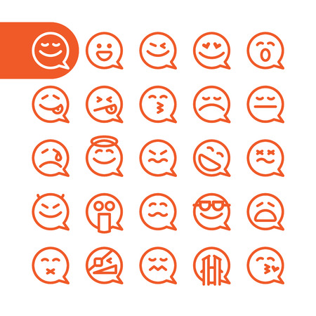 Foto de Fat Line Icon Set of speech bubble emoticons for web and mobile. Modern minimalistic flat design elements of speech bubble emoji isolated on white background, vector illustration. - Imagen libre de derechos