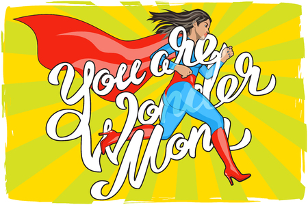 Ilustración de You are Wonder Mom - hand lettering. Runing Woman. Female Hero. Girl in Superhero Costume. Pin Up Comic Style. Pop art vector illustration - Imagen libre de derechos