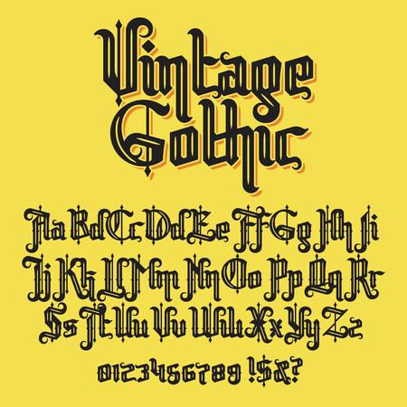 Illustration pour Decorative Vintage gothic typeface. Stock lettering illustration - image libre de droit