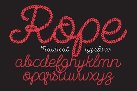 Illustration pour Rope alphabet vector font on blue background. - image libre de droit
