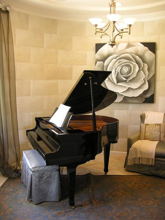 Piano in an interior music room