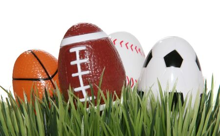 A football, baseball, basketball and soccer ball shaped eggs in the grass